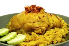 Fega Biryani, muslimska ris för gul jasmin med höna, Halal höna och curryris Royaltyfri Foto