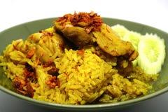 Fega Biryani, muslimska ris för gul jasmin med höna, Halal höna och curryris Royaltyfria Bilder