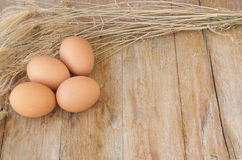 Fega bruna ägg på träbakgrund, matbakgrunder Royaltyfria Foton