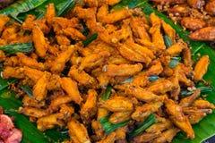 fega djupa stekte vingar Fega vingar för buffel Kryddig mat och Arkivfoton