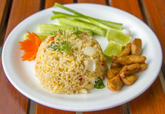 Fega Fried Rice - thailändskt stekt ris med höna Arkivbilder