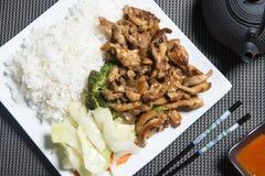 Fega Teriyaki med ris på en vit platta Fotografering för Bildbyråer