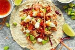 Fega tortillasjalar med den nya grönsaken blandar, avokadot, limefrukt, den grekiska yoghurten och söt chilisås arkivfoto