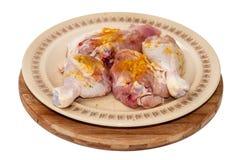 Fega trumpinnar kryddade med curry och ordnar till för att steka Arkivbilder