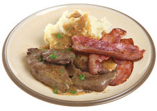 Fegato, bacon & pasto della purè di patate Immagini Stock Libere da Diritti