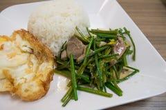 Fegato della carne di maiale fritto scalpore con la erba cipollina cinese fotografia stock libera da diritti