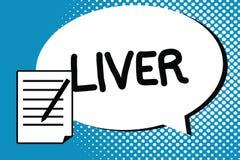 Fegato di scrittura del testo della scrittura Il concetto che significa il grande organo ghiandolare lobato nell'addome dei verte illustrazione di stock