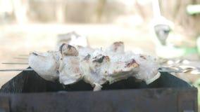 Fegt kött lagas mat på brand i gatan Det finns en rök från kol arkivfilmer