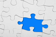 Fehlender Einteiler des Puzzlespiels Stockbilder