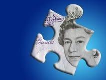 Fehlendes Link zum BRITISCHEN Bargeldmarkt Stockfotografie