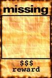 Fehlendes Plakat Lizenzfreies Stockfoto