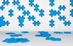 Fehlendes Puzzle bessert in unfertigem Arbeitskonzept aus blau stock abbildung