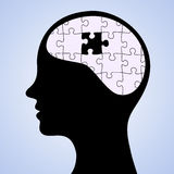Fehlendes Stück des Sinnespuzzlespiels Stockbild