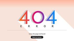 Fehler 404 Tut mir leid die Seite nicht gefunden Zurück zu Haus Lizenzfreies Stockbild