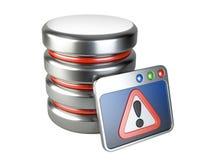 Fehlerdatenbank mit Ausrufezeichen Stockbilder