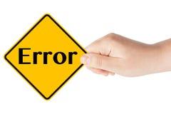 Fehlerzeichen mit der Hand Lizenzfreie Stockfotos