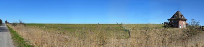 Fehmarn dune dyke house. Panorama Stock Photo