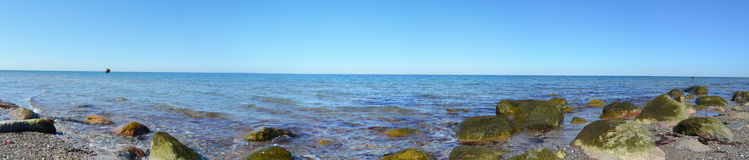 Fehmarn Island Panorama ocean. Beach stones Royalty Free Stock Photos