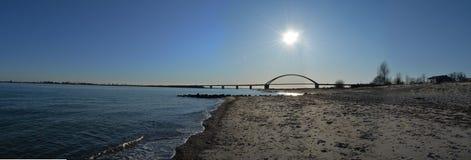 Fehmarn Island Panorama ocean bridge. North Sea Stock Photography