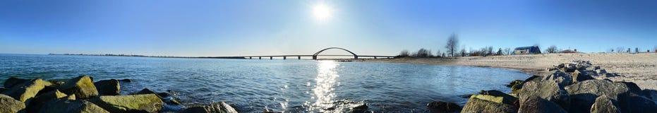 Fehmarn Island Panorama ocean bridge. Sea Stock Photography
