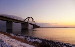 Fehmarn Sound Bridge At Dusk Stock Image