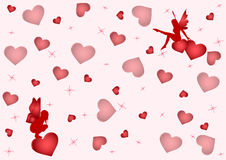 Fei love. Background with a lot of hearts and two lovely fairies. Vector Stock Photos