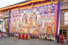 Feier beim Trongsa Dzong, Trongsa, Bhutan Stockfotografie