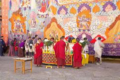 Feier beim Trongsa Dzong, Trongsa, Bhutan Lizenzfreies Stockfoto