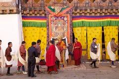 Feier beim Trongsa Dzong, Trongsa, Bhutan Stockbild
