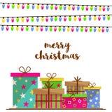 Feier der frohen Weihnachten mit bunten Geschenken stock abbildung