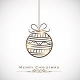 Feier der frohen Weihnachten mit dem Hängen von Weihnachtsball lizenzfreie abbildung