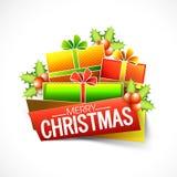 Feier der frohen Weihnachten mit Geschenken vektor abbildung