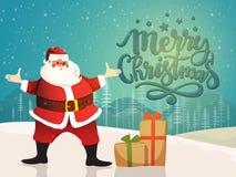 Feier der frohen Weihnachten mit Santa Claus lizenzfreie abbildung
