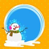 Feier der frohen Weihnachten mit Schneemann lizenzfreie abbildung