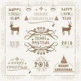 Feier 2015 der frohen Weihnachten und des neuen Jahres mit Verzierung Stockbilder