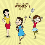 Feier der internationalen Frauen Tagesmit jungen Mädchen Lizenzfreie Stockfotografie