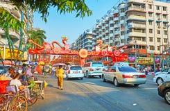 Feier des Chinesischen Neujahrsfests in Rangun, Myanmar lizenzfreies stockbild