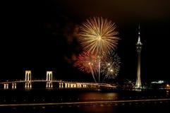 Feier des neuen Jahres mit Feuerwerken Stockfotografie