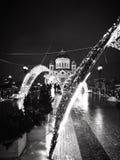 Feier des neuen Jahres in Moskau, die Kathedrale von Christus der Retter stockbild