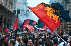 Feier für Genua-Fußballteam lizenzfreie stockbilder