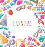 Feier-Karnevalskarte mit bunten Ikonen und Gegenständen der Partei Lizenzfreies Stockbild