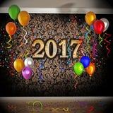 Feier 2017 mit Ballonen und Konfettis Abbildung 3D Lizenzfreies Stockfoto