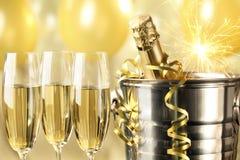 Feier mit Champagner Stockfotografie