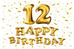 Feier mit 12 Jahrestagen mit glänzenden Goldballonen u. bunten lebendigen Konfettis Design der Illustration zwölf 3d für Ihr einz Stockbild