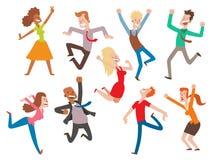 Feier-Parteiillustration der Vektorleute springende Glücklicher Mann und Frau springen Freudencharaktere Nette Jungen und Mädchen Stockfotos