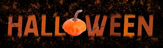 Feier von Halloween Enormes orange Feuer beschriftet auf schwarzen Hintergrund auseinander fallen fahne stockbilder