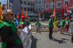 Feier von Maifeiertag in der Oporto-Mitte Lizenzfreies Stockbild