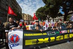 Feier von Maifeiertag in der Oporto-Mitte Lizenzfreie Stockfotos