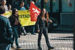 Feier von Maifeiertag in der Oporto-Mitte Allgemeines Bündnis von portugiesischen Arbeitskräften Lizenzfreie Stockfotos