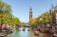 Feier von queensday am 30. April 2012 in Amsterdam Stockbild